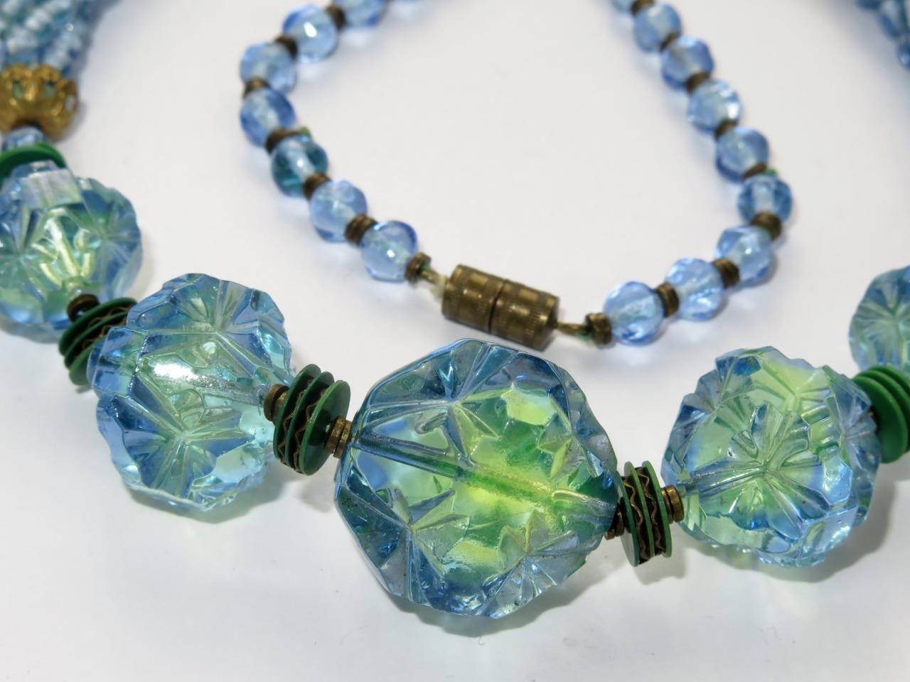 Beautiful Vintage Czech Neiger Uranium Glass Bead Necklace Art Deco Ebay Glass Bead Necklace Beaded Necklace Vintage Costume Jewelry