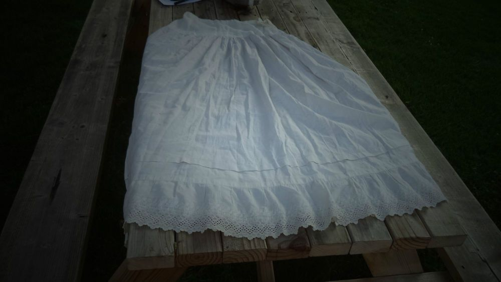 Victorian Petticoat sewn+ Crochet Rim found on wire hoop skirt small ...