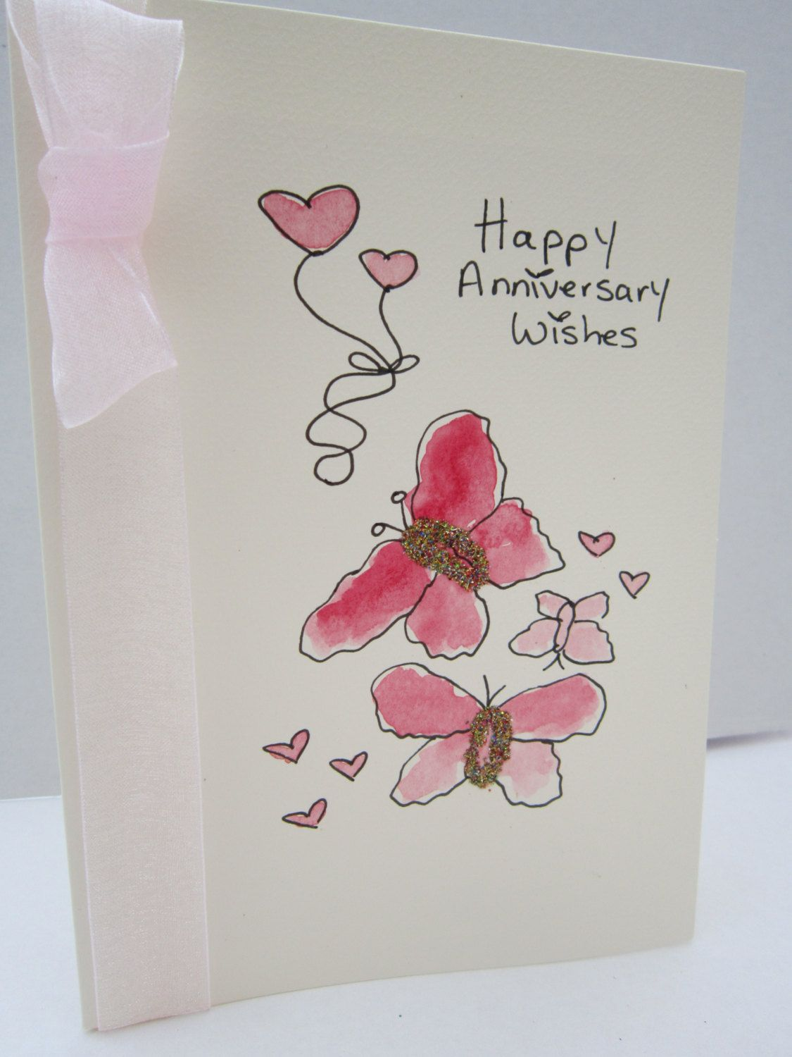 Anniversary Butterflies Watercolour Card Handpainted Card Daughter Anniversary Son Watercolor Anniversary Card Hand Painted Card Anniversary Cards For Wife