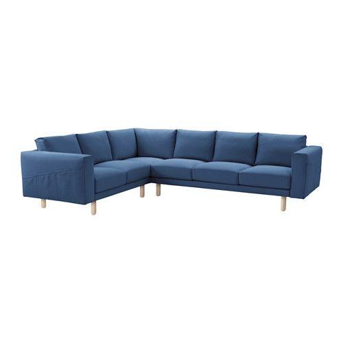 IKEA - NORSBORG, Hjørnesofa 2 + 3/3 + 2, bjørk, Edum mørk blå, , Stor eller liten, fargerik eller nøytral. Sofaer fås i mange former, stiler og størrelser, slik at du enkelt finner den som passer deg og familien din best.En myk og komfortabel sofa fylt med høyelastisk polyeter som gir kroppen støtte og raskt får tilbake sin opprinnelige form når du reiser deg.Litt høyere armlener gjør det ekstra komfortabelt å rigge seg til i det koselige sofahjørnet.Trekket er enkelt å holde rent, det kan…