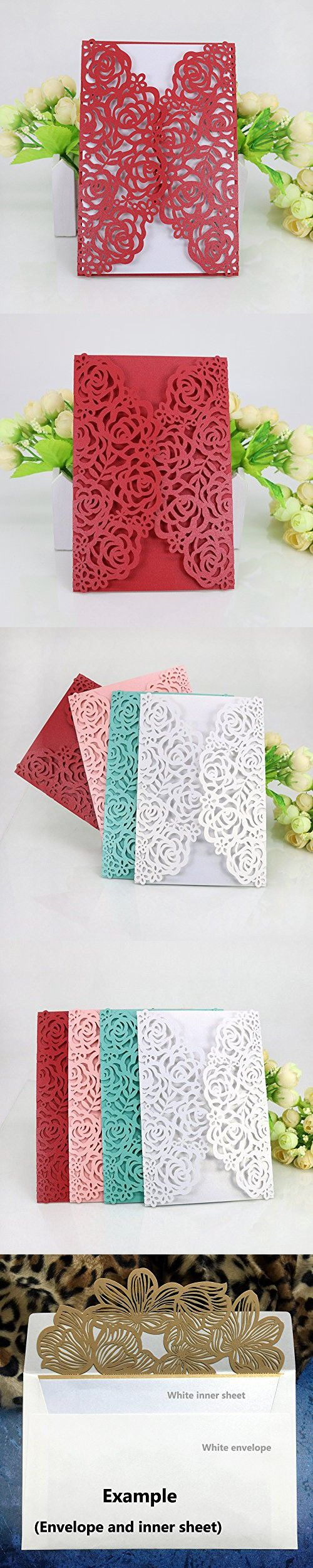 WOMHOPE® 50 Pcs - Large Rose Hollow Laser Cut Wedding Invitation ...