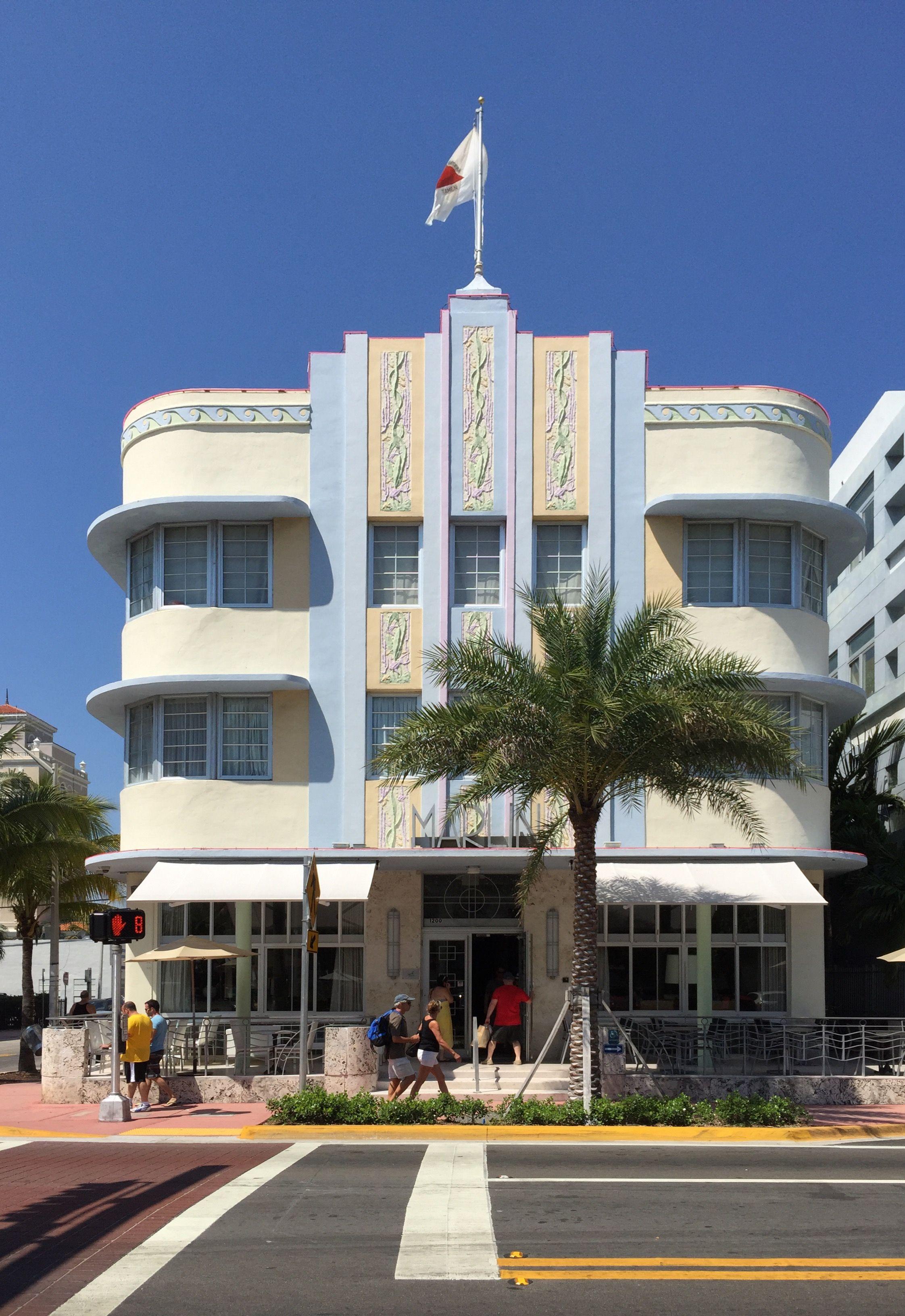 The Marlin Hotel Miami Beach Florida Usa Designed By Lawrence Murray Dixon 1939 L à Floride E U Dessiné Par