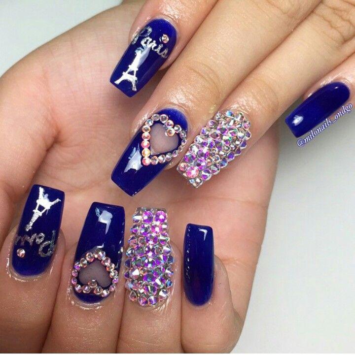 Blue Nails And Bling Coffin Shape Nails Rhinestone Nails Bling Nails