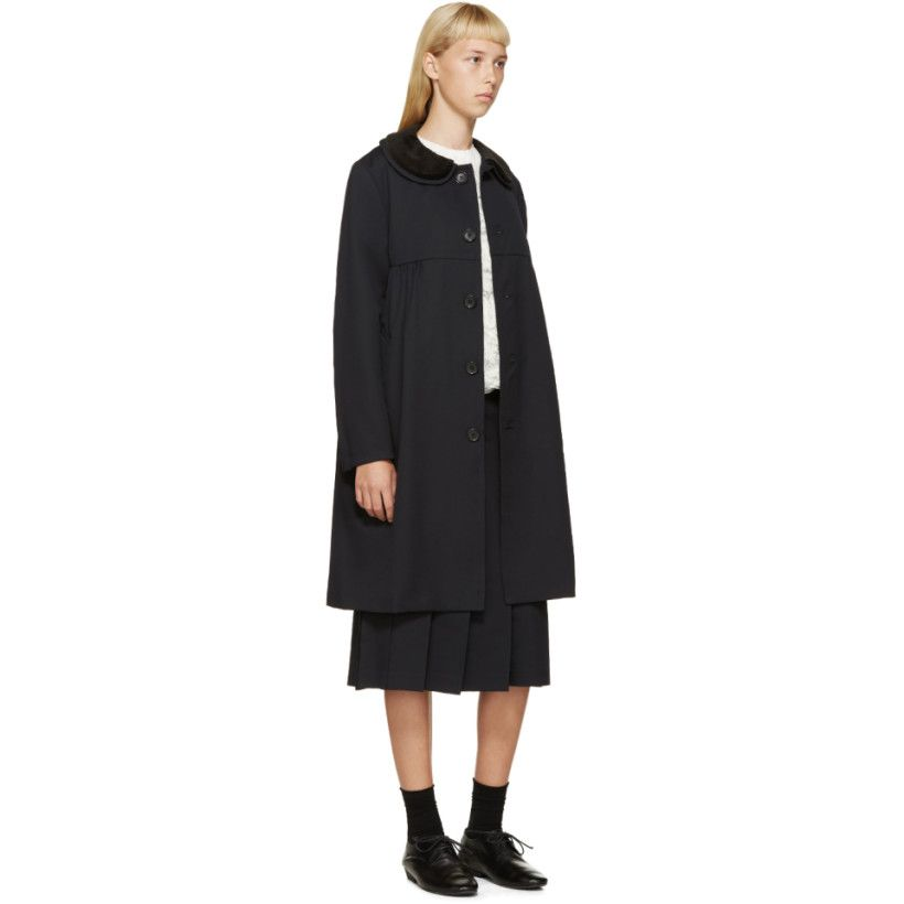 Comme des Garçons Girl Navy Pleated Wool Skirt