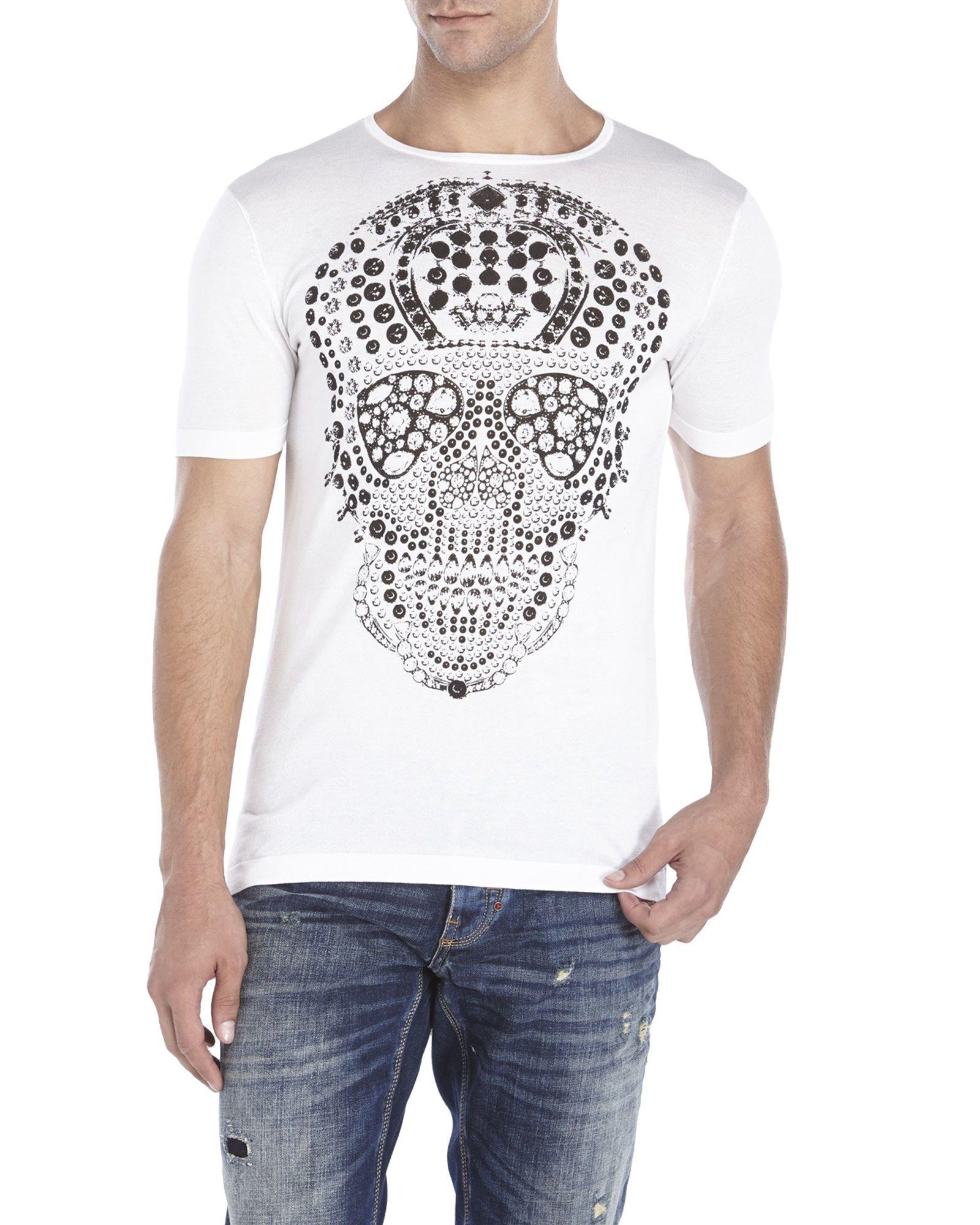 54fb286e ANTONY MORATO White Graphic Skull Tee | Custom Men's Tee Shirts ...