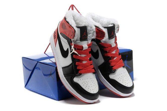 Online Warm High Cut Air Jordan 1 I Retro Mens Shoes Fur Inside For Winter White Black Red