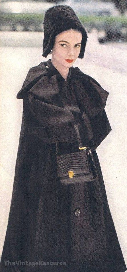 Dior 1956 black satin coat cocktail evening fancy day high fashion mid 50s designer couture vintage style