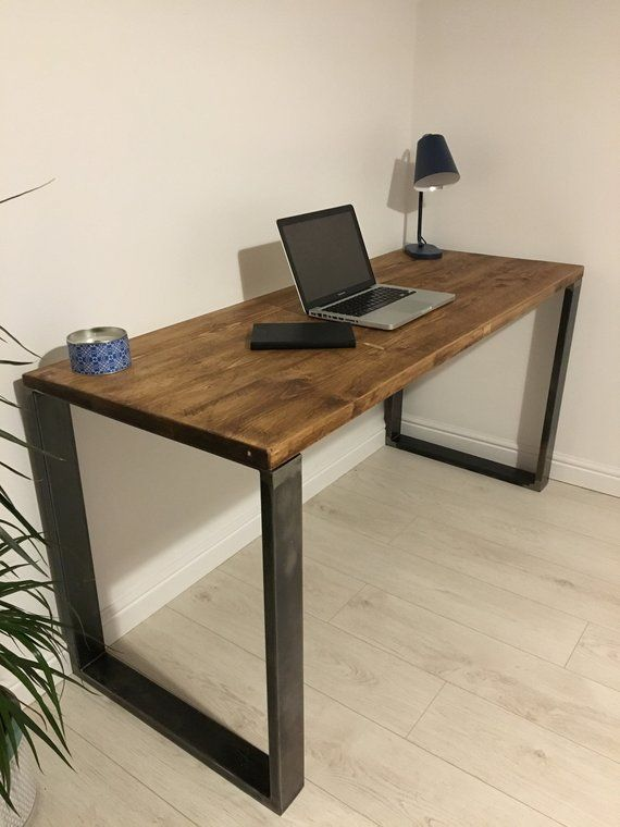 Rustic Wooden Desk Made From Reclaimed Scaffold Boards Square Metal Frame Legs Industrial Urban Upcycle Rustic Wooden Desk Rustic Desk Wooden Desk