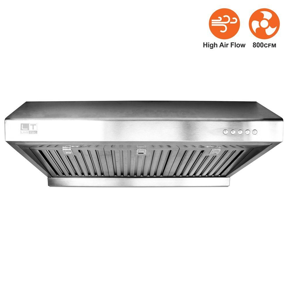 Amazon Com Bv Stainless Steel 30 Under Cabinet High Airflow 800 Cfm Ducted Range Hood With Led Lights App Ducted Range Hood Range Hood Exhaust Fan Kitchen