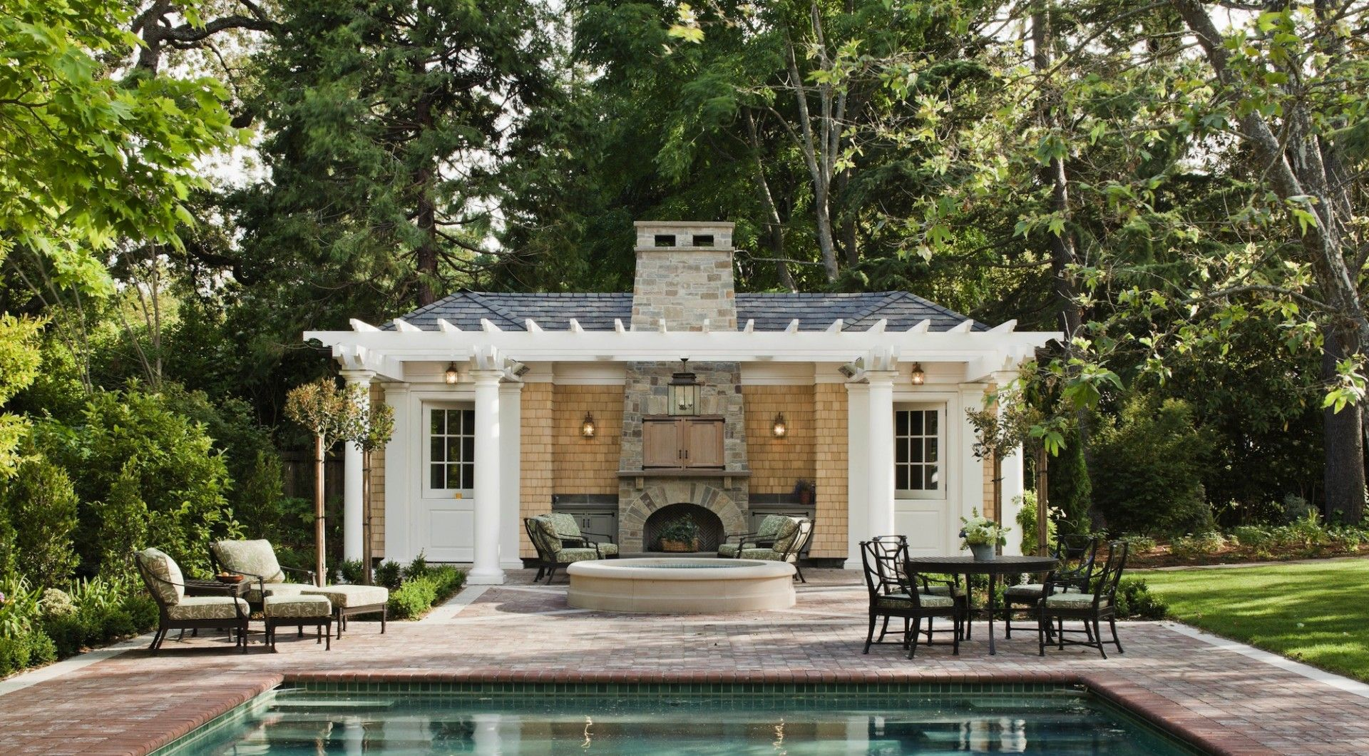 Perfect Stunning Traditional Outdoor Fireplace Pool House Designs Ideas