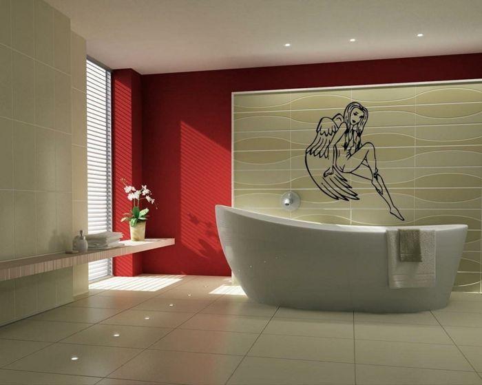 laminas decorativas, baño moderno con bañera y ventana grande, pared ...