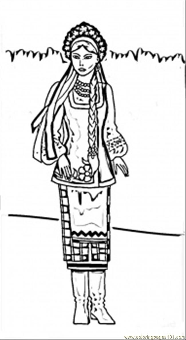 free printable coloring page Ukrainian Woman (Countries