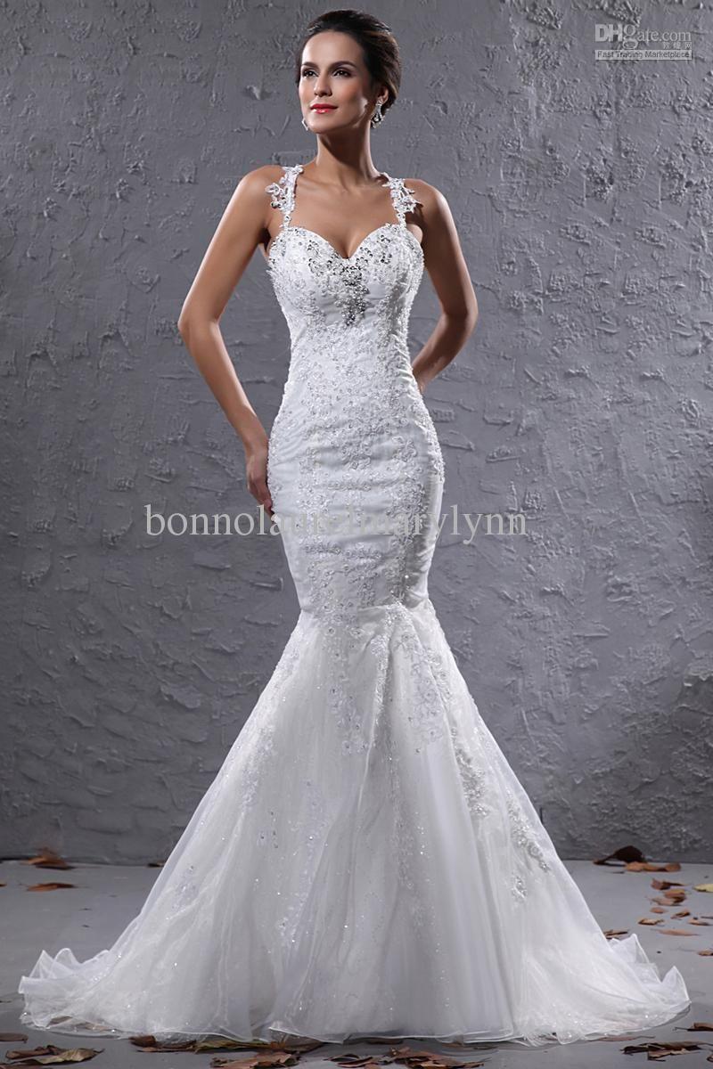 Brand New mermaid halter Sheer Bodice Wedding Bridal Gown  Wedding  Lace mermaid wedding dress