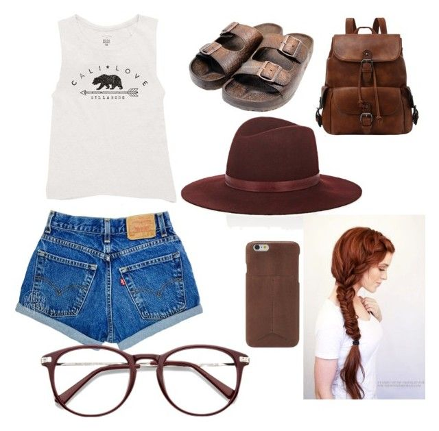 """""""Cali Love"""" by milleoli000 ❤ liked on Polyvore featuring Billabong, Janessa Leone and FOSSIL"""