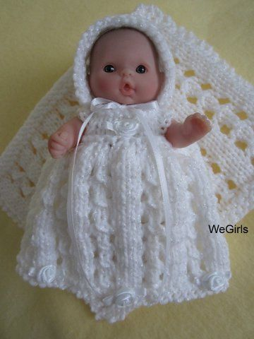 Berenguer Baby Doll Knitting Pattern Lace Christening Gown Set Fits