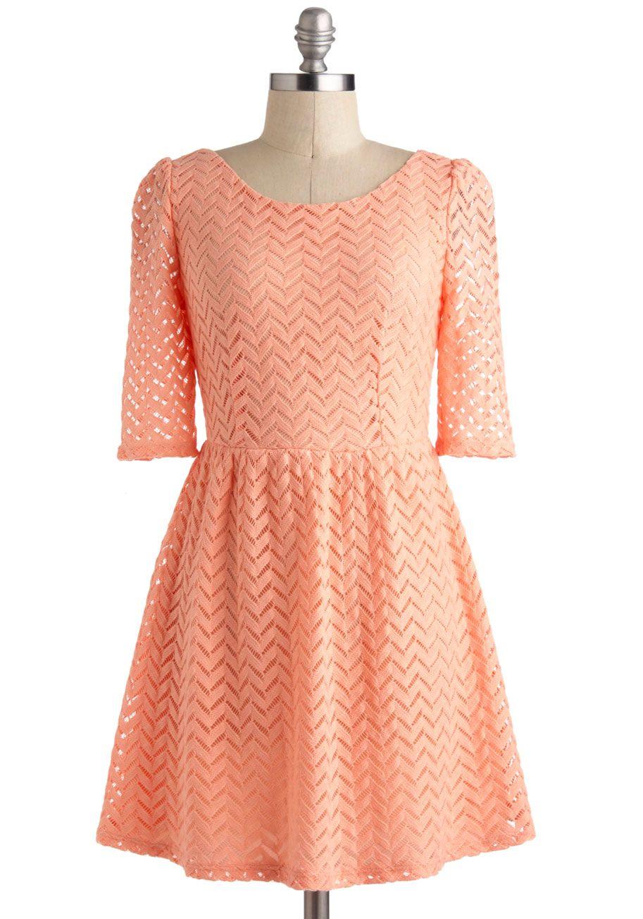 3a5607ccb06 Peach Party Dress - Mid-length