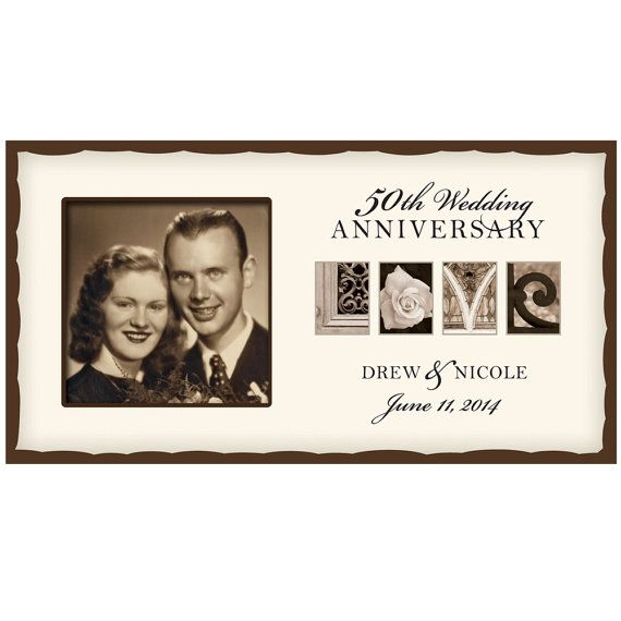 Personalized Wedding Love Photo Frame 50th Golden Anniversary Picture Free Shipping