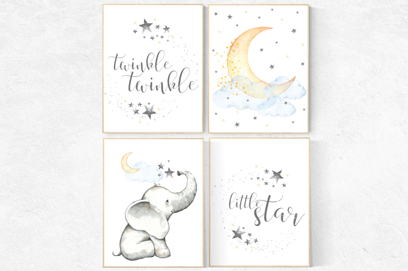 WALL ART PRINT SET BIRTH Nursery Decor Custom Personalised 8x10in Moon Star