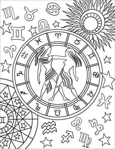 Gemini Zodiac Sign Coloring Page Zodiac Signs Colors New Year Coloring Pages Love Coloring Pages