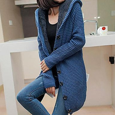 Women's Sweater Long Sleeve Hooded Hoodie Knit Cardigan | Waffle ...