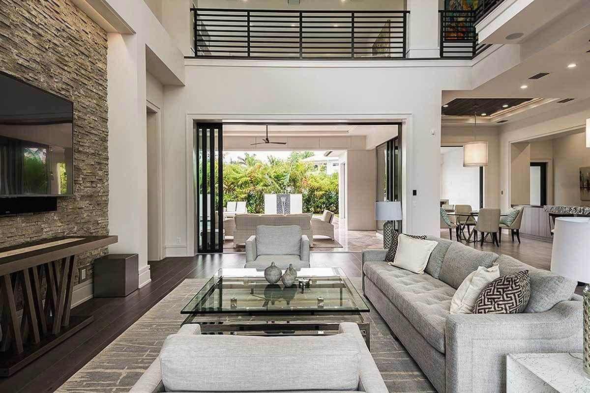 Love Open Concept Flow From Great Room To Outdoor Space And Between Kitchen And Eating Area Modern Mediterranean Homes Mediterranean Homes Contemporary House