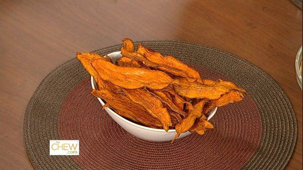 Daphne's Baked Sweet Potato Chips   - 250 degrees for 1 1/2 hour - turning 1/2 way through - add cinammon if needed