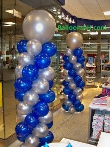 Sapphire Blue And Silver Tall Balloon Columns Balloon
