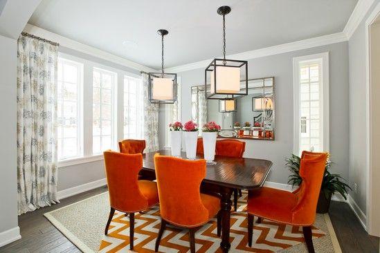 Pop Of Red Orange In Gray Dining Room Orange Dining Room Living