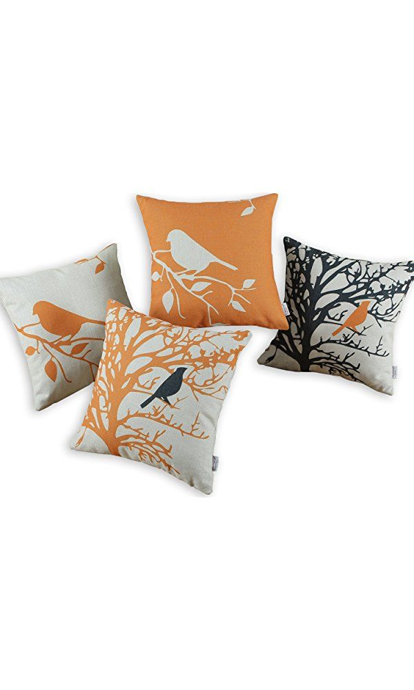 Euphoria CaliTime Throw Pillows Covers Vintage Birds Branches, 18 X 18 Inches, Black Orange, Set of 4 Best Price