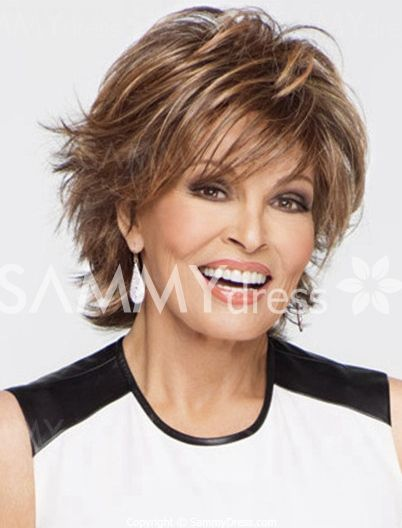 Charming Short Curly Side Bang Stylish Synthetic Mixed Color Fluffy Capless Wig For Women