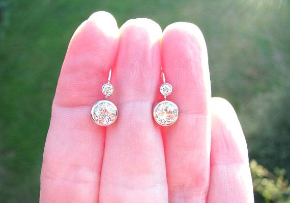 Fiery Old European Cut Diamond Earrings approx 1.54 by Franziska