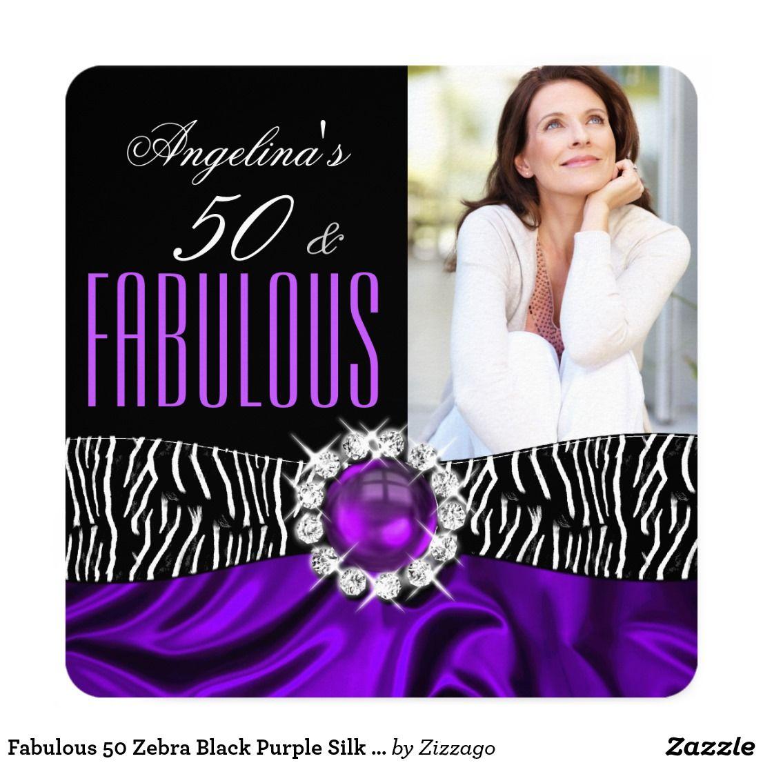 Fabulous 50 Zebra Black Purple Silk Birthday 2 Card 50th birthday