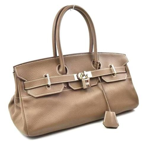 a6ca22472b1 Hermes Etoupe Clemence Leather JPG Shoulder Birkin 1 42cm Handbag Bag PHW
