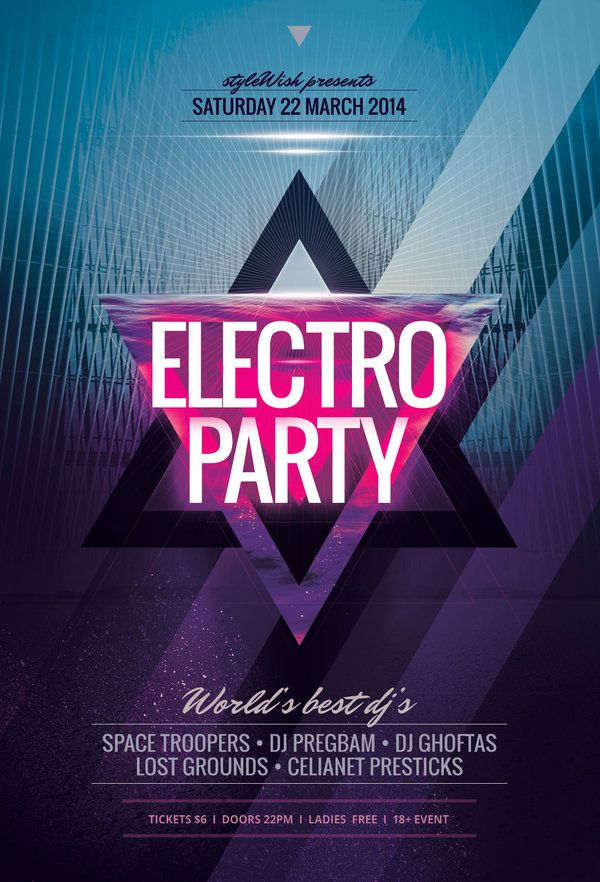 Electro Flyer by styleWish (PSD flyer on Graphicriver) Party