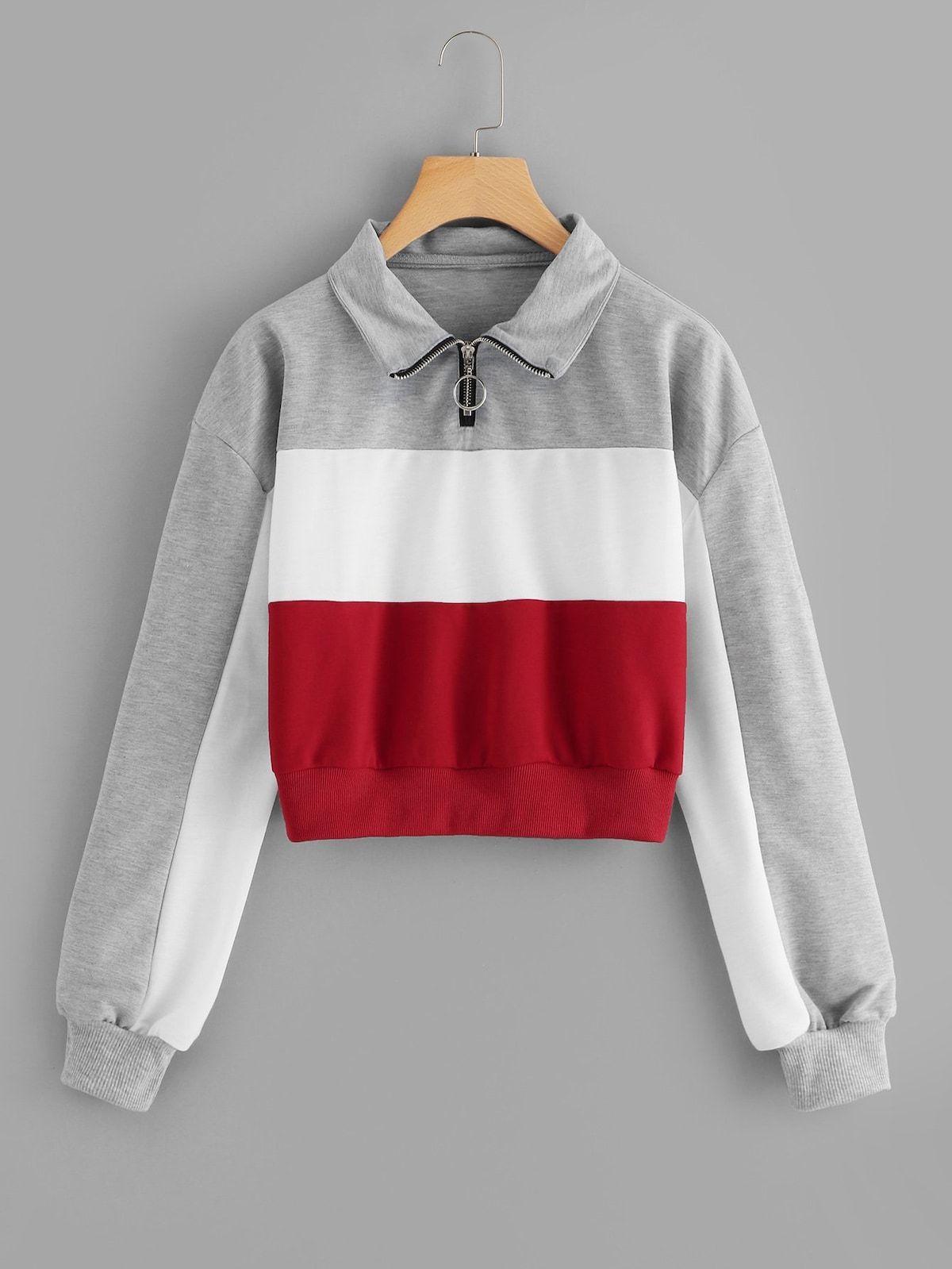 66567cf63338 Color-block Quarter Zip SweatshirtFor Women-romwe