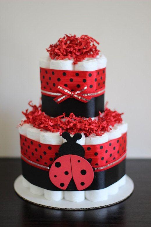 tier  coccinelle mini gâteau de couches par babeecakesboutique, Baby shower invitation