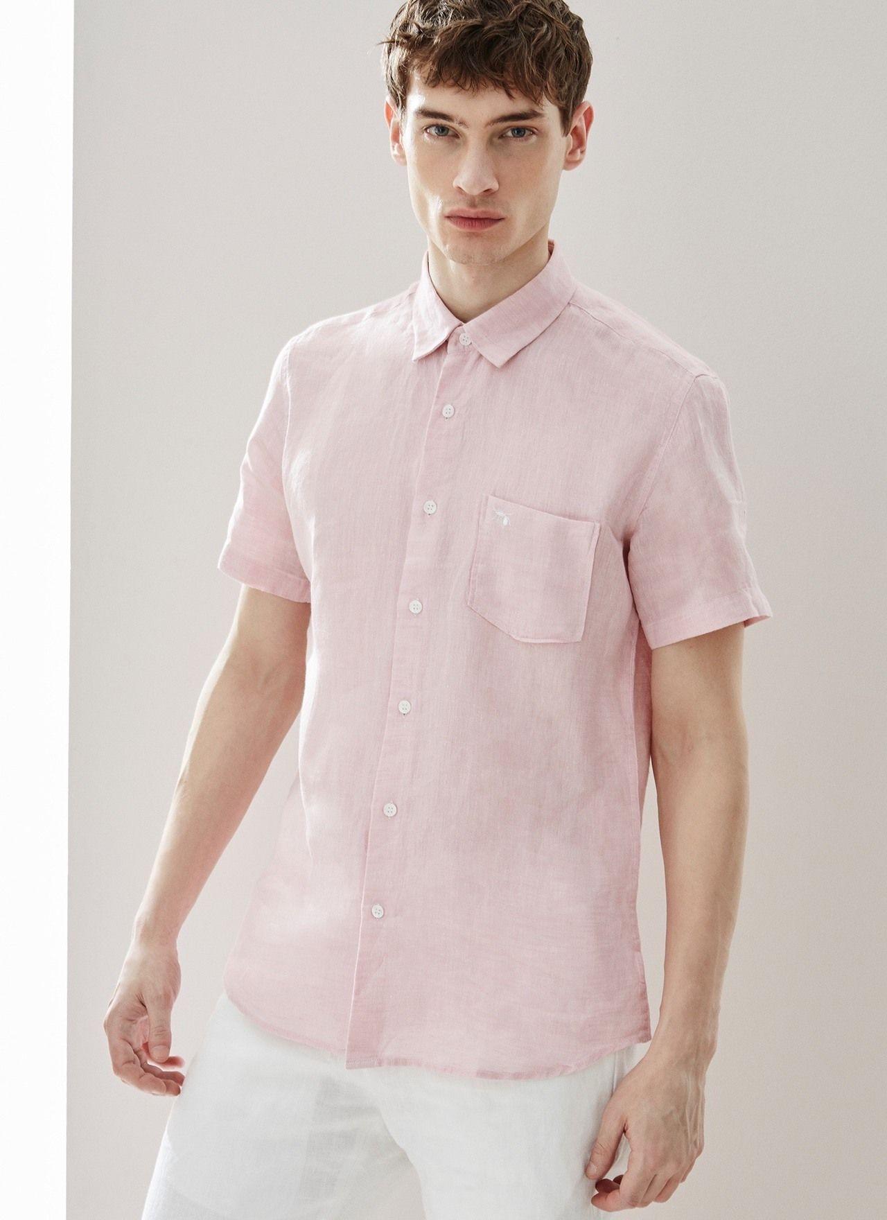 65e0aed12b Camisa en lino delavé - Manga corta
