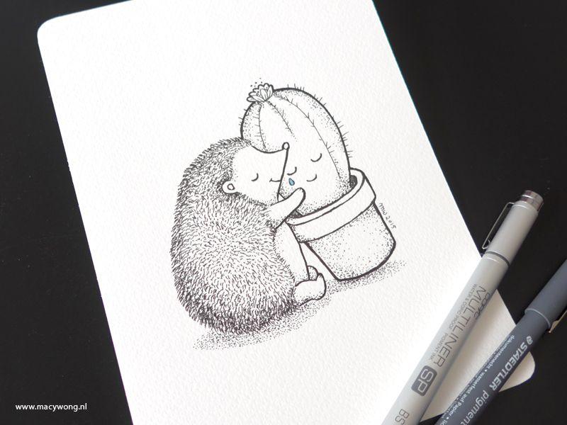 Line Drawing Hedgehog : Hedgehog and cactus pen illustration childrens animals
