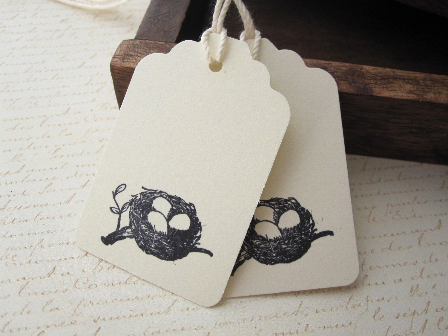 10 Birds Nest Hang Tags Cardstock, Price Tags, Wedding Favors, Party ...