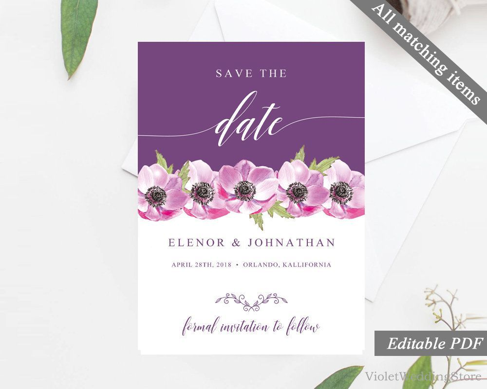 Purple and Pink Floral Save the Date Card Template. Printable Save ...