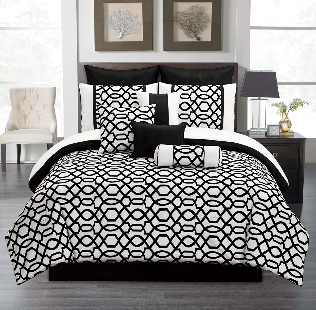 10 Piece Cal King Venturi Black And White Comforter Set Things For