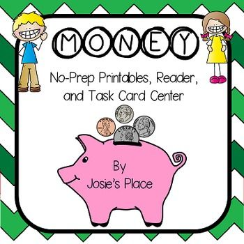 This product will help students identify and recognize US coins and their values through no prep printables,  reader, and a task card center.  It includes: 14 printables to work on the following skills: coin recognition, value, and  counting coins.  8 page reader to learn about the coins (2 books on a page for easy copying)  4 coin anchor charts with poems  3 math coin pattern worksheets (cut and paste)  28 task cards and center sign for counting the value of the coins (includes answer ...