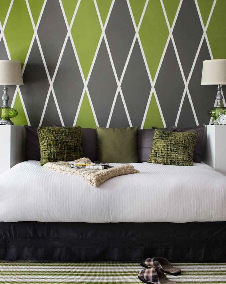 Argyle Headboard Wall | Benjamin Moore Colors 406 Huntington Green And  HC 167 Amherst Gray