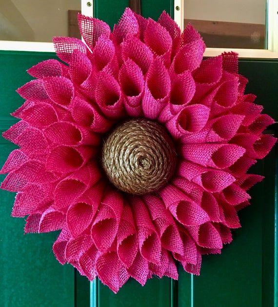 Photo of Pink Sunflower Burlap Wreath Sunflower Wreath Pink Burlap Wreath Burlap Flower Wreath, Spring Wreath, Summer Wreath,Front Door Wreath,