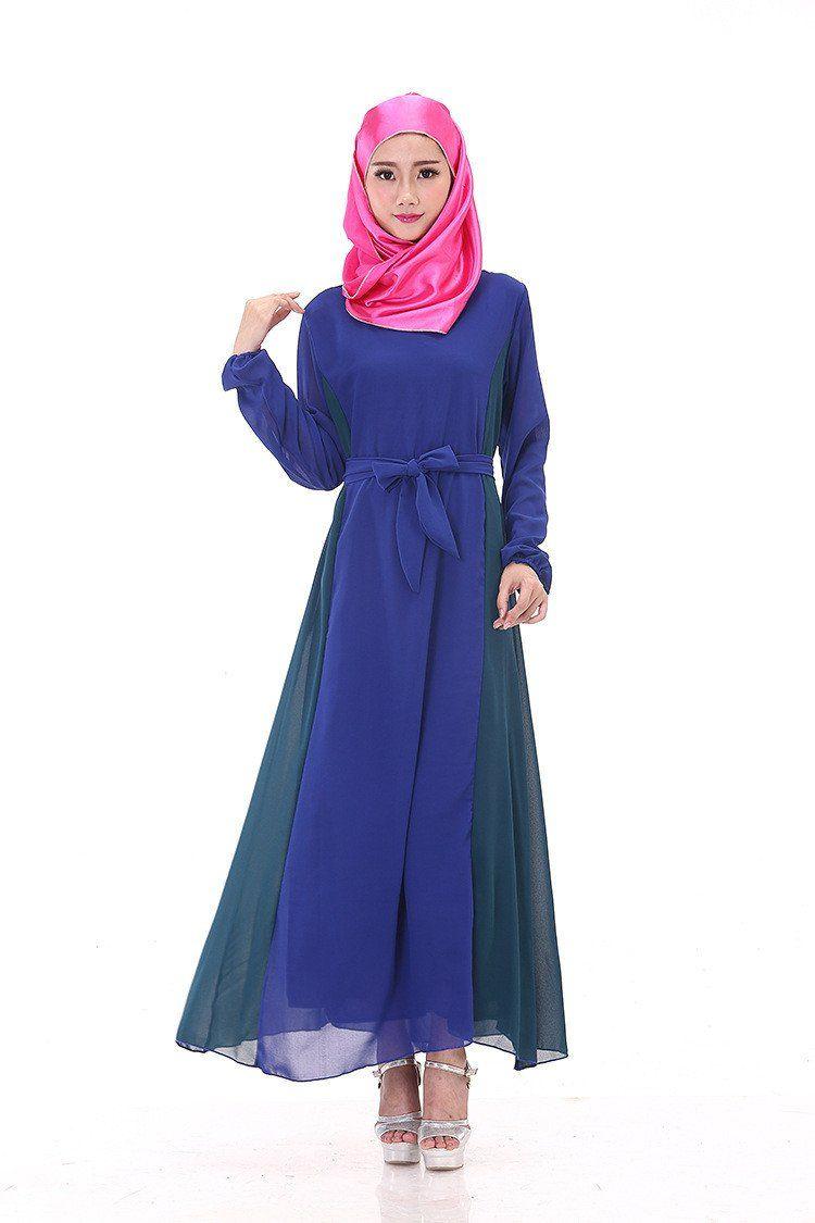 Muslim women abayas fashion abaya long sleeved patchwork colors