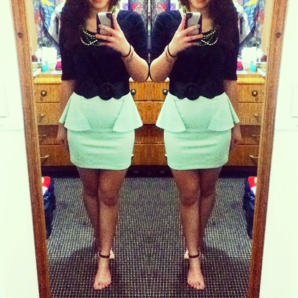 Another semi-formal choice of peplum skirt Outfit from Charlotte ...