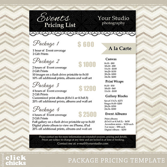 Photography Package Pricing List Template - Etsy Photography - sample sell sheet