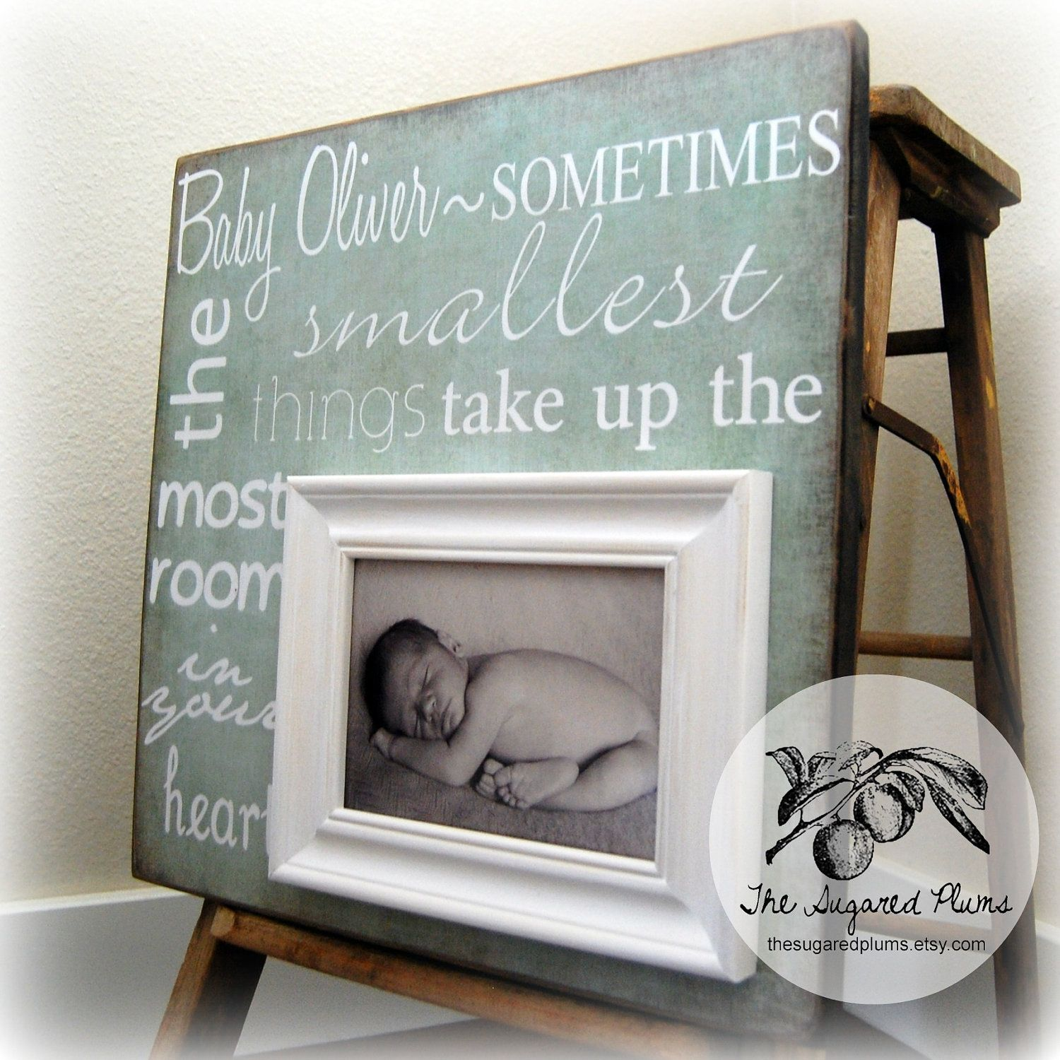 Baby Picture Frame Personalized 16x16 SOMETIMES The SMALLEST THINGS Baptism Christening First Birthday Gift Godparents New 7500 Via Etsy