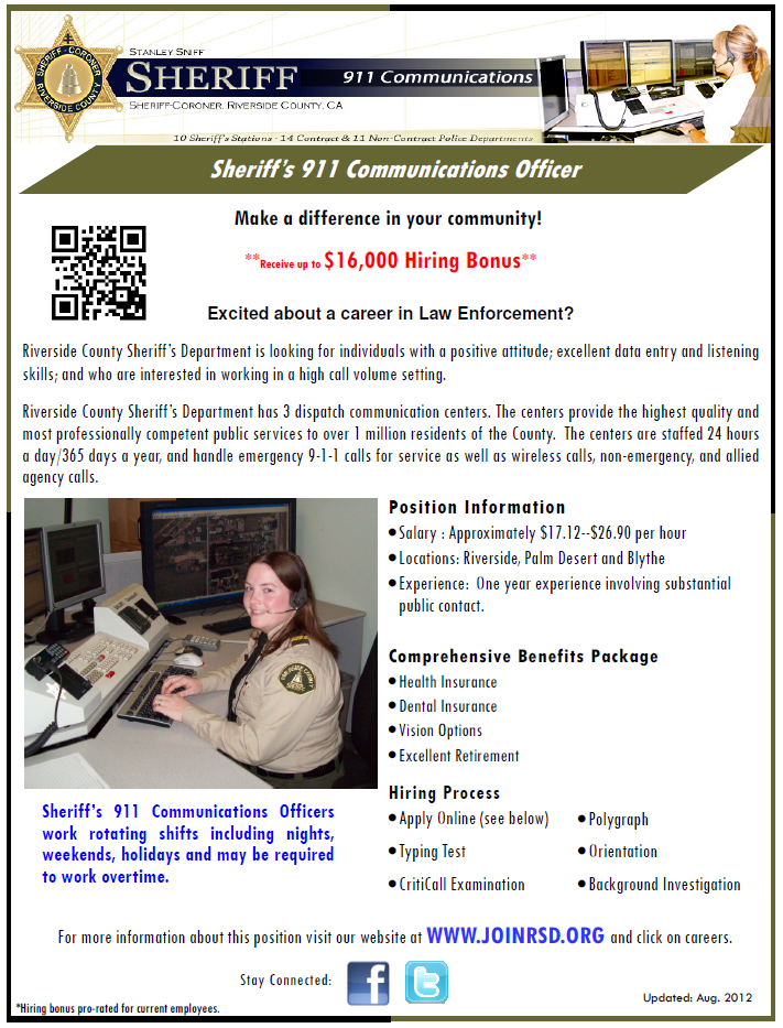 Interested In Becoming A Sheriff S 911 Dispatcher Apply Now At Www Joinrsd Org Dispatch Job Career Men Women Sheriff 911dispatcher River Pinterest