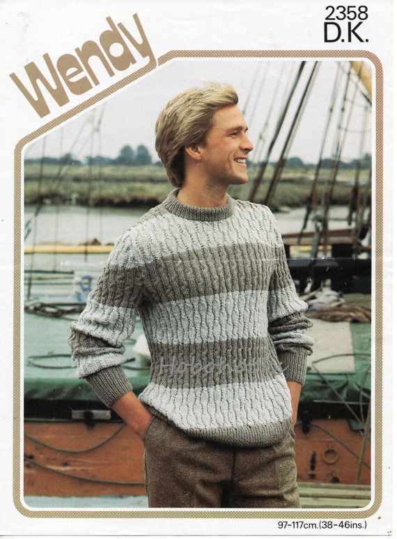 ec84880648daeb mens striped sweater knitting pattern crew neck 38-46 inch DK mens ...